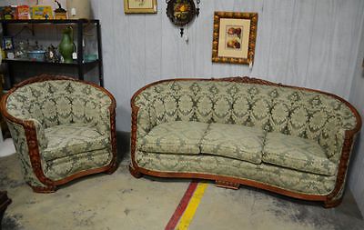 Rococo Style Sofa and Chair with Rounded Carved Backs