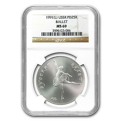 1991 1 oz Russian Palladium Ballerina Coin - MS-69 NGC - SKU #72634