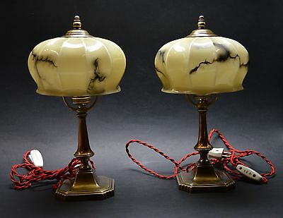 PAIR of VTG CZECH ART DECO  1930's Table, Bed Side Lamps Marbled Glass Shades