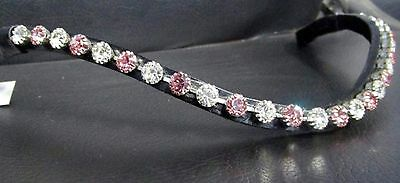 BEAUTIFUL QUALITY Diamante Bling Curved Browband Pink Silver Crystal