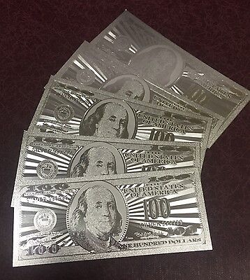 5 Pcs Silver $100 One Hundred Dollars 999 Silverleaf Foil Banknotes w/ Sleeves