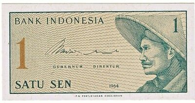 1964 Indonesia 1 Sen Crisp Uncirculated Bank Note Pick-90a!!