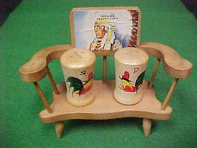 Indiana Pa Indian Rooster Wooden Deacon's Bench Vintage Salt Pepper Shakers 1950
