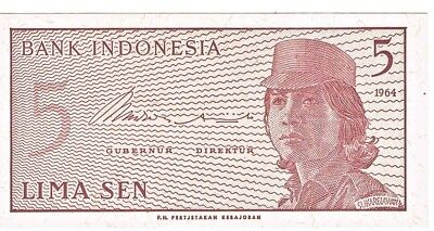 1964 Indonesia 5 Sen Crisp Uncirculated Bank Note Pick-91a!!