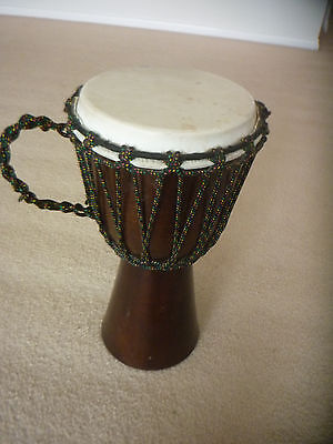 Bongo Drum 40Cm High Timber And Hide Excellent Condition