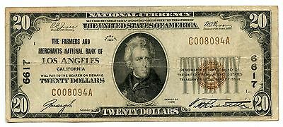 1929 $20 National Currency Note 6617 Farmers Merchants Los Angeles - AI265