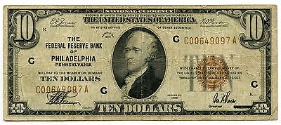 1929 $10 National Currency Note - Philadelphia PA Federal Reserve Bank - AI273
