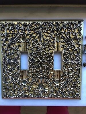 Vintage Filigree Ornate Brass Double Electric Plate Cover