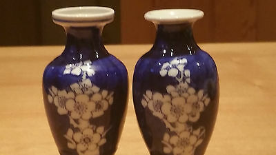 Pair Chinese Blue And White Miniature Vases