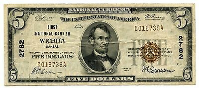 1929 $5 National Currency Note 2782 First Bank of Wichita Kansas - AI258