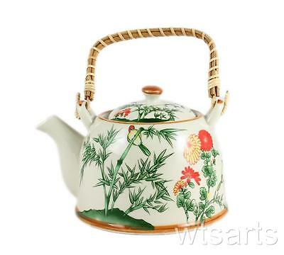 Green Bamboo Design Chinese Teapot, tea pot with infuser.