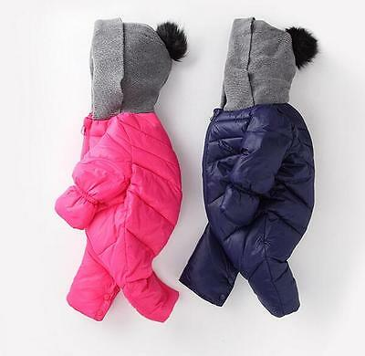 Toddler Soft Baby Girl's Boy's Down Snow Suit One Piece Size 6 12 18 24 Months /