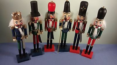 "Set of 6 Wooden 9"" Christmas Nutcracker Soldiers New In Package"