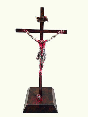 Zombie Jesus Christ Crucifix Painted Statue with Stand Corpus Religious
