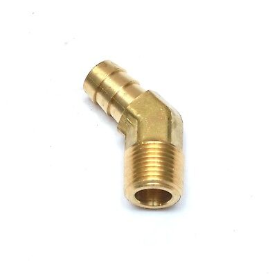 1/2 Hose Barb 3/8 NPT Male 45 Degree Elbow Brass Fitting, Air, Oil, Gas WATE