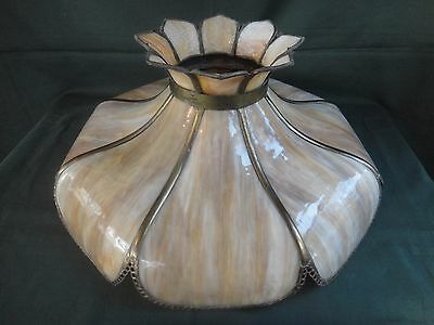 Lg Antique Bent Panel Slag Glass Lamp Shade - Caramel Mission Stain Glass Shade