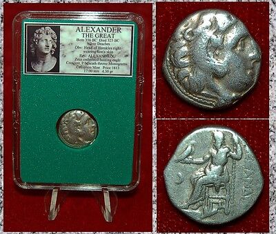 Ancient Greek Coin Of ALEXANDER THE GREAT Herakles Zeus Silver Drachm Colophon
