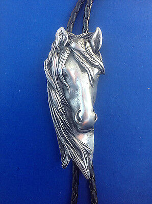 Western/Southwestern ~Horse Head~ Bolo Tie 4MM Leather Cord W/Engraved Tips