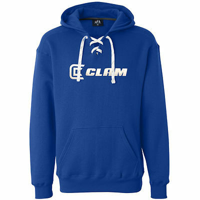 Clam Fishing Ice Armour Hockey Lace Blue Hoodie Hooded Sweatshirt - Choose Size