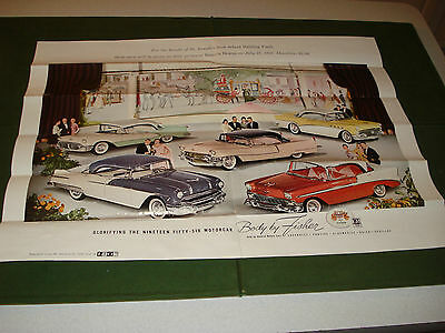 Vintage 1956 Fund Raising Poster -Gm Cars, Cadillac, Olds, Chevy, Pontiac,buick