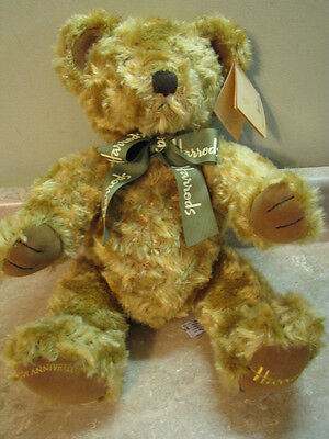 "HARRODS Plush 17"" 100TH ANNIVERSARY TEDDY BEAR Knightsbridge London England MINT"