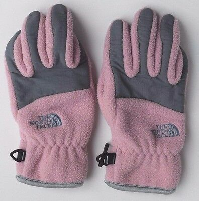 THE NORTH FACE Pink & Gray Fleece Winter Gloves Youth Girls S