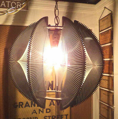 AWESOME Vintage Mid Century Lucite String Wires Hanging Ceiling Swag Lamp Retro!