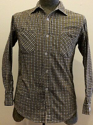 Vintage 60s Style Wise Cotton Flannel Mens Small Button Up Work Shirt