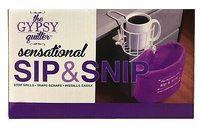 Quilting Gypsy Sensational Sip & Snip Clamp Handy Cup and Acc. Holder - white