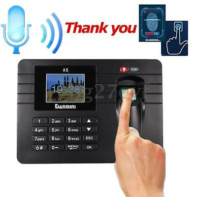 Fingerprint & Password Time Recorder Clock Machine Payroll Employee Attendance