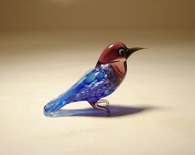 "Blown Glass ""Murano"" Animal Figurine Small Blue Bird BLUEBIRD"