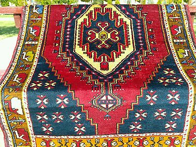 """Gorgeous Authentic 3'2""""×5'7"""" 1900-1930s  Wool Pile Natural Dyes Tribal Rug"""