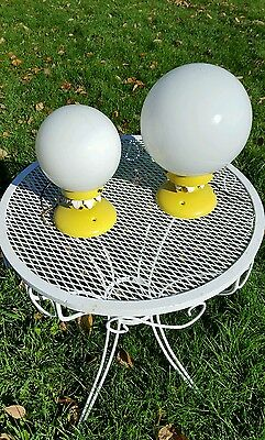 Pair Vintage Mid Century Modern Floral Globe Ceiling Lights Union Made