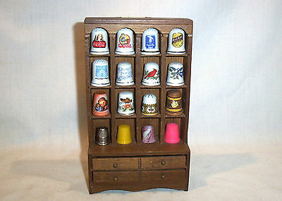 Lot Vintage Wooden Hutch Display 16 Thimbles Franklin Mint Advertising,Birds +++