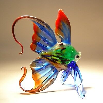 "Blown Glass ""Murano"" Art Figurine Blue and Red FISH with an Arched Tail"