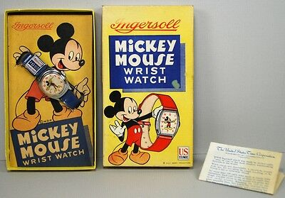 Disney 1947 Mickey Mouse Ingersoll US Time Wrist Watch Blue Band MIB