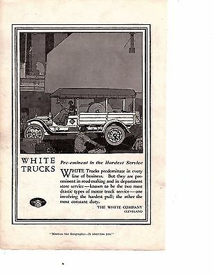 1917 Ad Antique White Delivery Trucks Cleveland WWI - ORIGINAL ADVERTISING