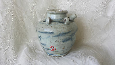 Antique Chinese Wine Pot Blue & White Porcelain ca: mid Qing Dynasty 1800's