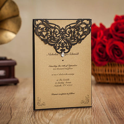 Laser Cut out Custom Personalized Print Wedding Invitation Cards With Rhinestone