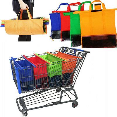 Set of 4 Bags Grocery Cart Shopping Trolley Bags Reusable Eco Blue Insulated Bag