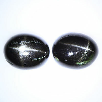 6.965 Cts Unique Radiant 100% Natural Unheated Black Star Diopside Oval Cab Pair