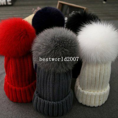 Children Kids Baby Warm Winter Wool Knit Beanie Real  Fur Pom Bobble Hat Cap