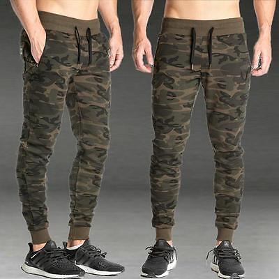 Mens Casual Military Army Camo Cargo Combat Trousers Gym Fitness Jogging Pants