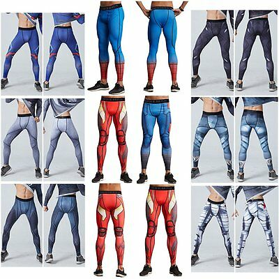 Mens Marvel Superhero Cycling Pants Compression Sport Trousers Running Wear