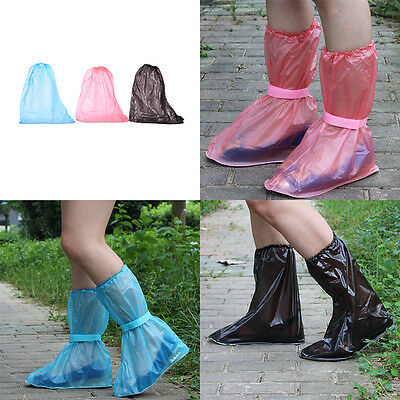 PVC Waterproof Shoe Cover Reusable Anti-slip Rain Boot Motorcycle Bikes Overshoe