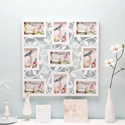 White Plastic Flower Wall Photo Frame Hanging Family Picture Collage Display