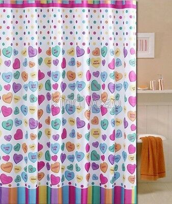 Multi-Color Love Heart Picture Design Bathroom Fabric Shower Curtain Ks853
