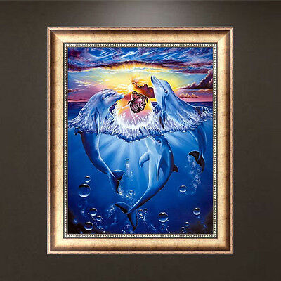 DIY 5D Diamond Painting Dolphins Embroidery Cross Stitch Home Decor Crafts