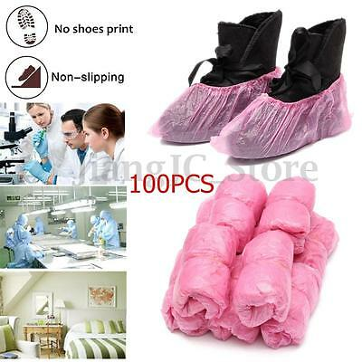 100x Rain Waterproof Disposable Plastic Anti Slip Shoe Boot Cover Lab Overshoe