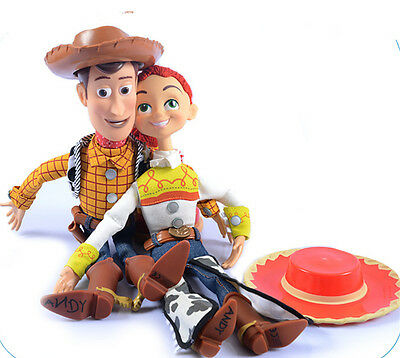 "15"" Woody Talking Doll Toy Story 3 Pull String Figures Figurine Jessie Cow Boy"